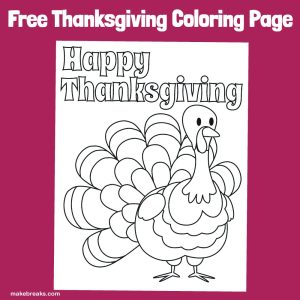 Happy Thanksgiving Turkey Free Easy Coloring Page