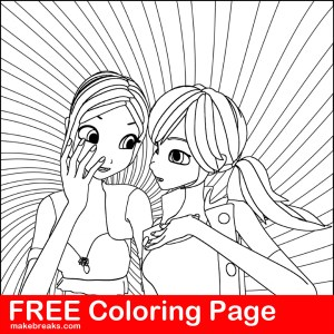 Free Coloring Page – Two Girls Chatting