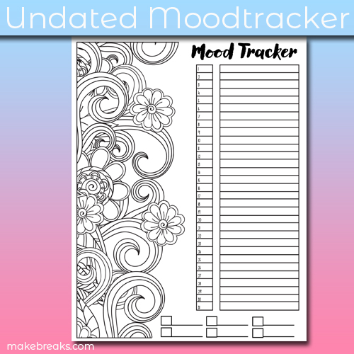 Free undated mood tracker for journals with a doodle design