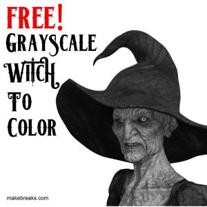 Free Grayscale Witch to Color for Halloween
