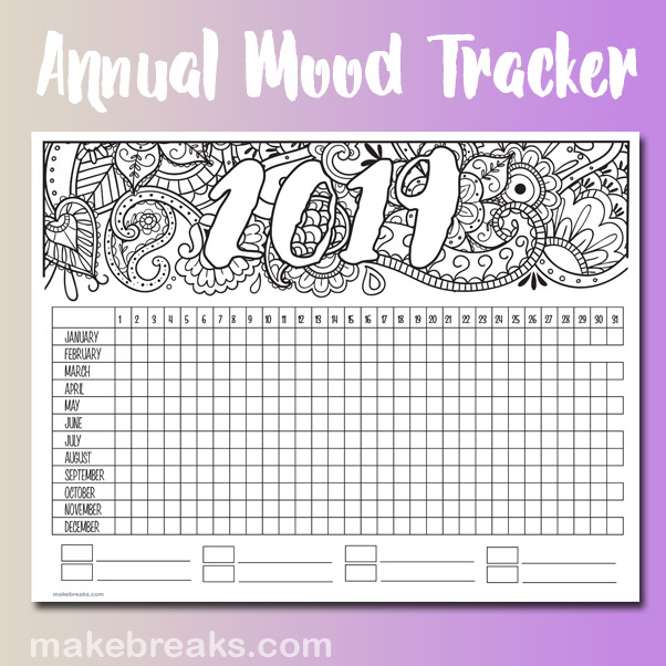 graphic relating to Printable Mood Tracker named 2019 Yearly Temper Tracker Cost-free Printable Planner Web page - Produce