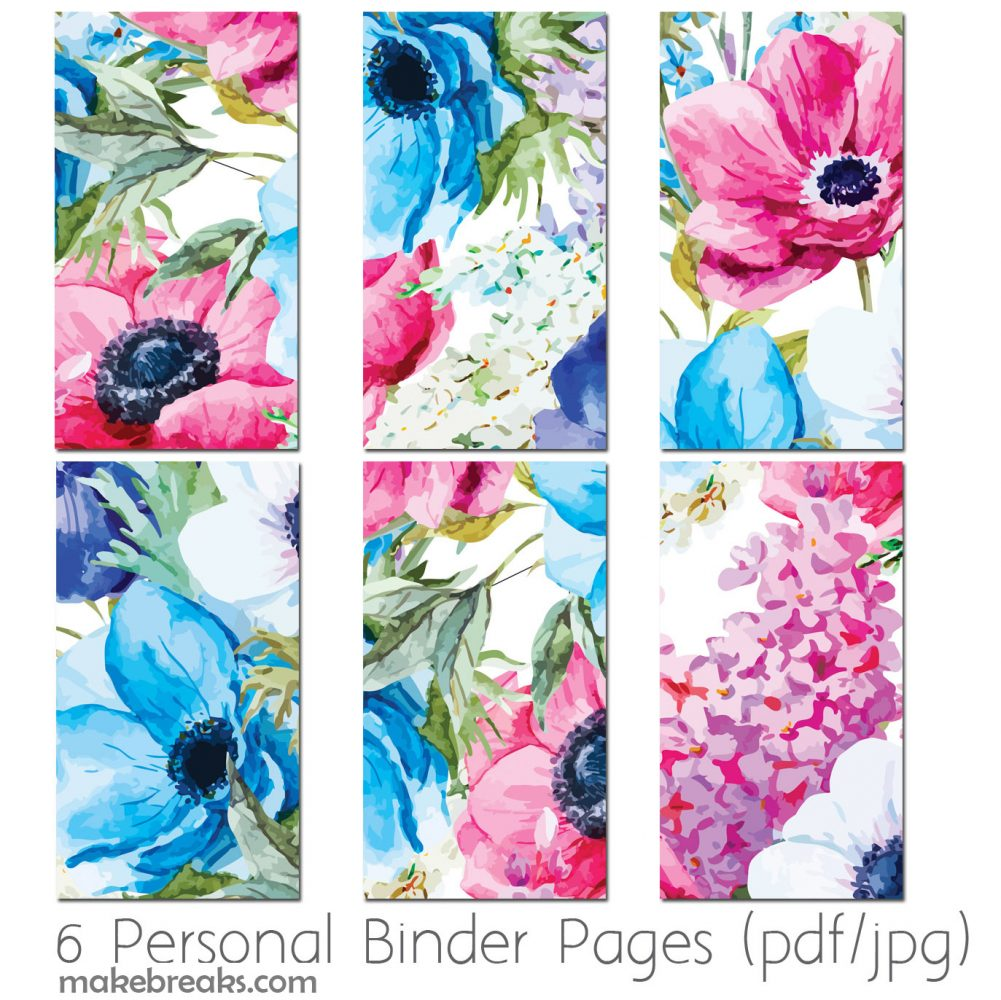 Free printable page dividers for a personal size filofax planner