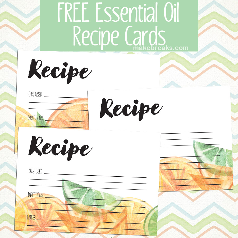 Free printable essential oil recipe card