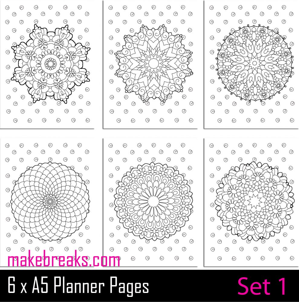 Free mandala coloring inserts for a5 planner