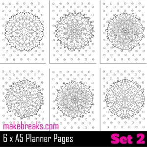 Coloring Page A5 Planner Dividers – Set 2
