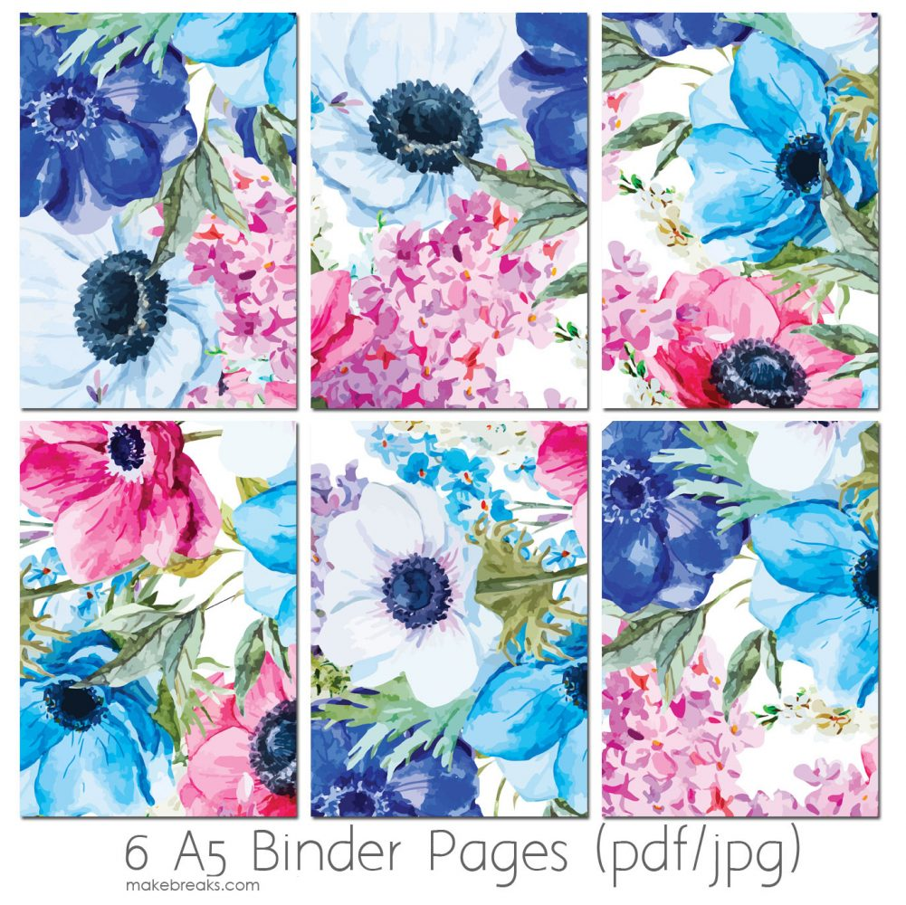 Free A5 Planner Dividers With Blue Floral Design