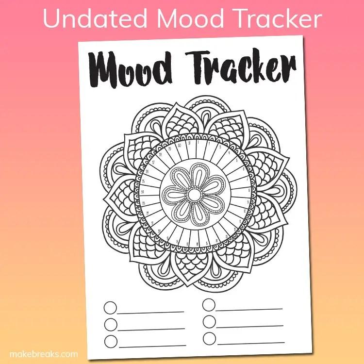 Free Undated Mandala Mood Tracker Tracking Page