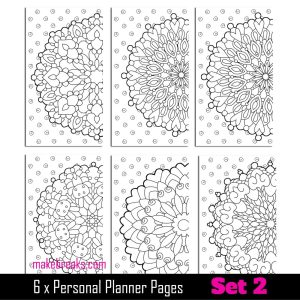 Coloring Page Personal Planner Dividers – Set 2