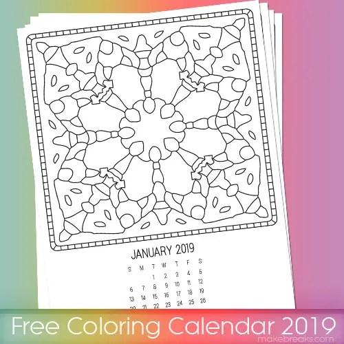 2019 coloring page calendar