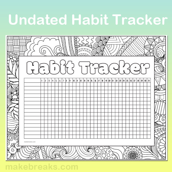 Free undated habit tracker to add to your bullet journal or planner