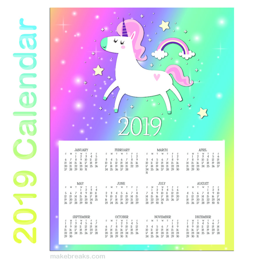 Free Printable Unicorn One Page 2019 Calendar 2 Make Breaks