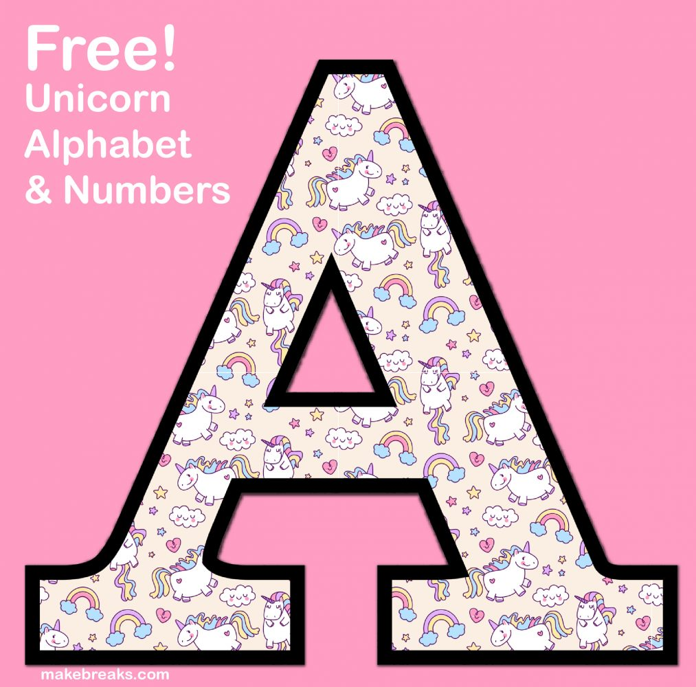graphic relating to Printable Letters and Numbers called Unicorn Letters Figures toward Print 3 - Totally free Printable