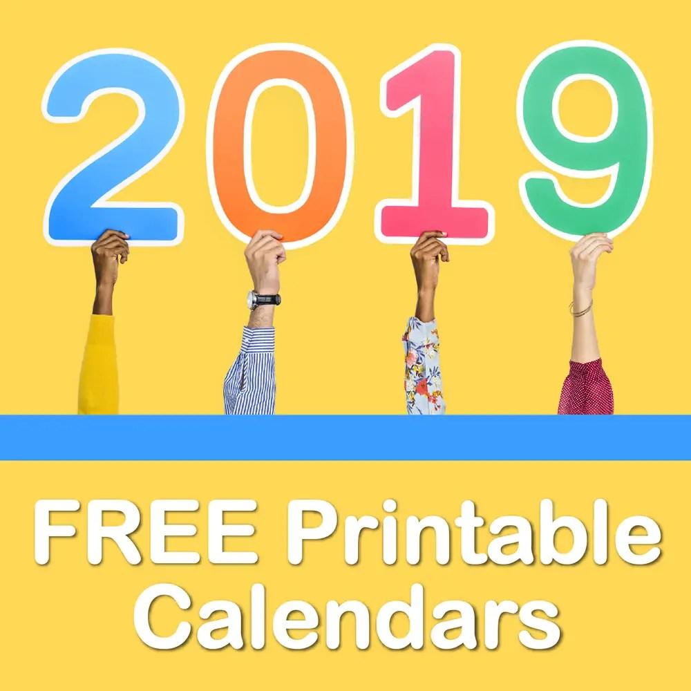 Free printable calendars for 2019