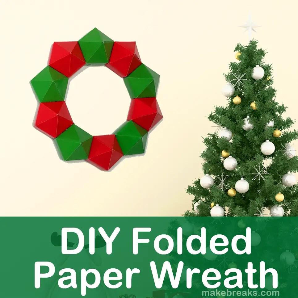 Folded paper wreath decor