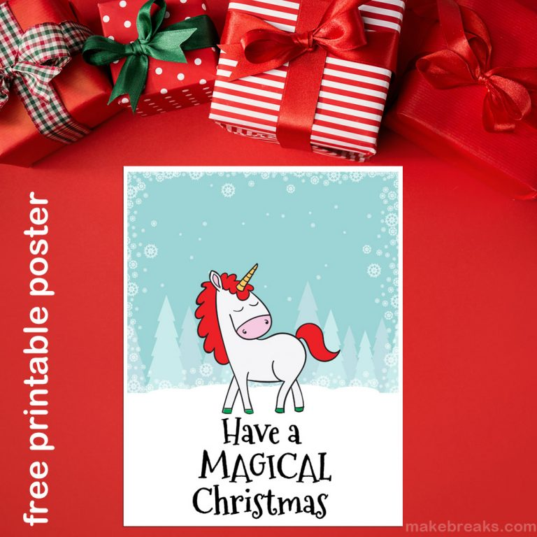 Unicorn Christmas Poster to print
