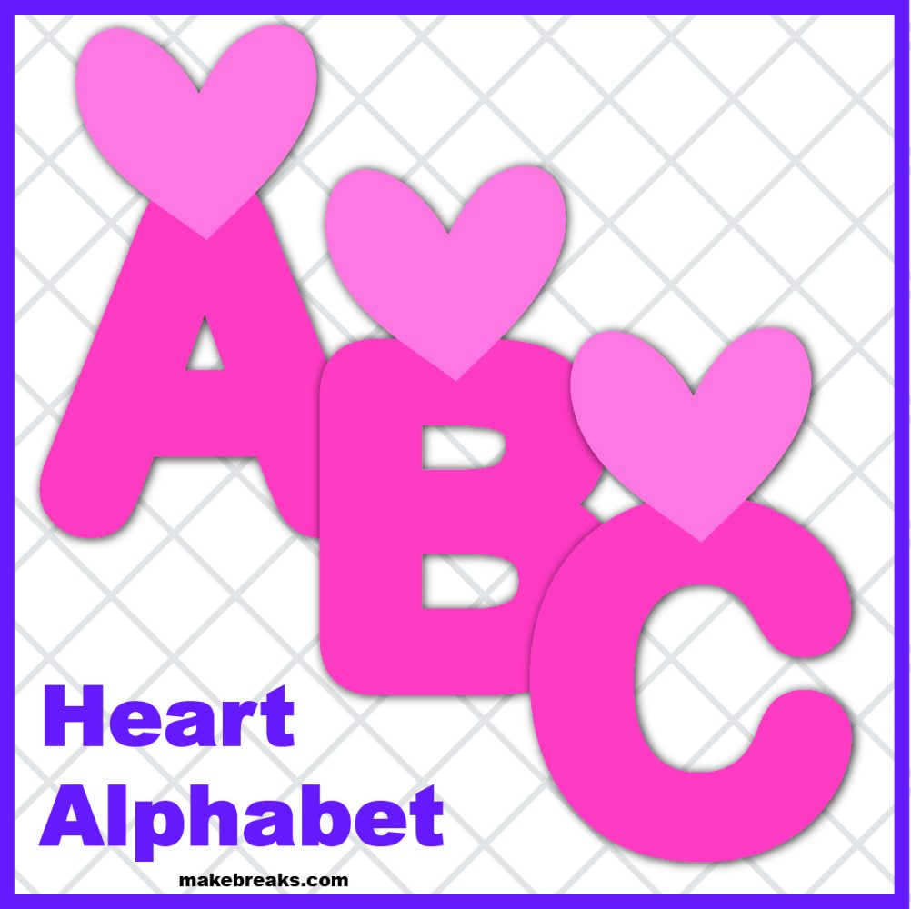 Free Heart Printable Alphabet for Valentine's Day- Pink