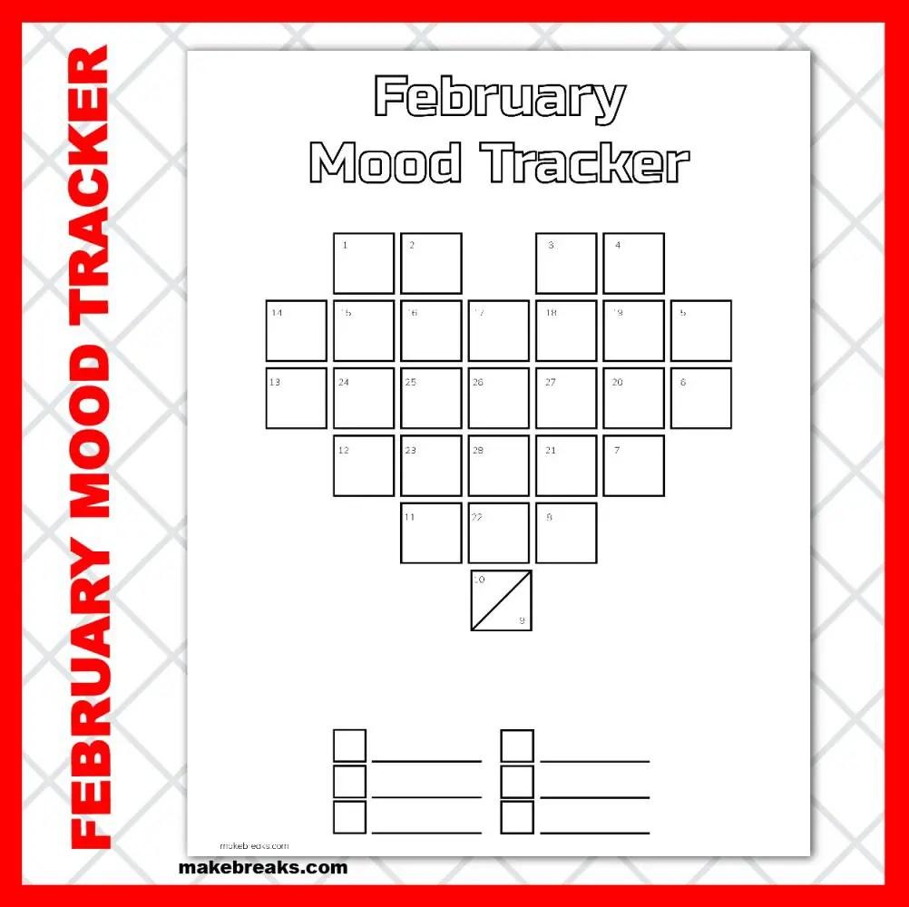 February Pixel Heart Mood Tracker