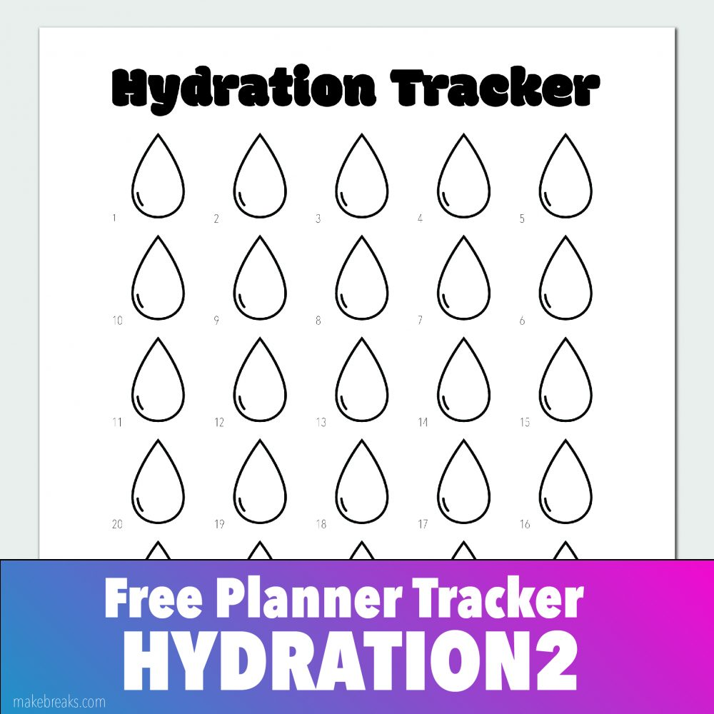 Free Hydration Tracker (Drop) for Bullet Journals and Planners