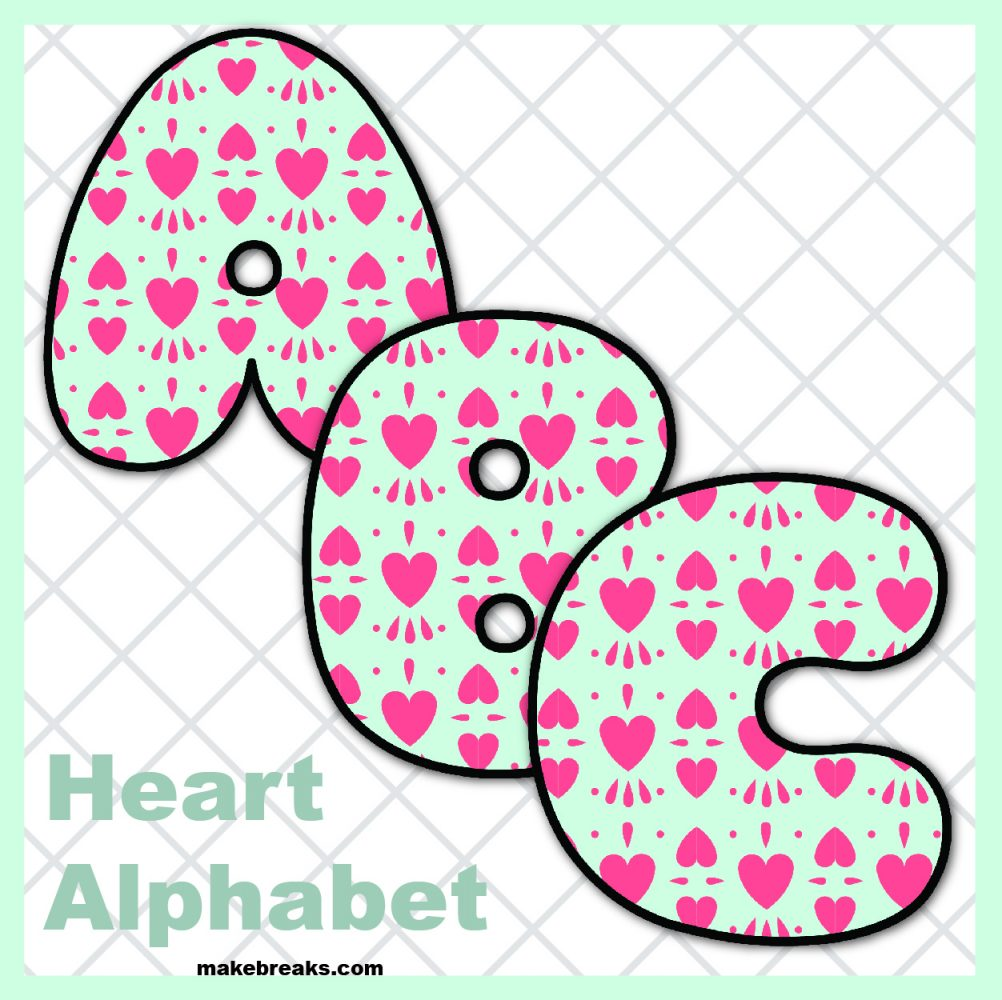 Free Printable Alphabet for Valentine's Day- Pattern 1