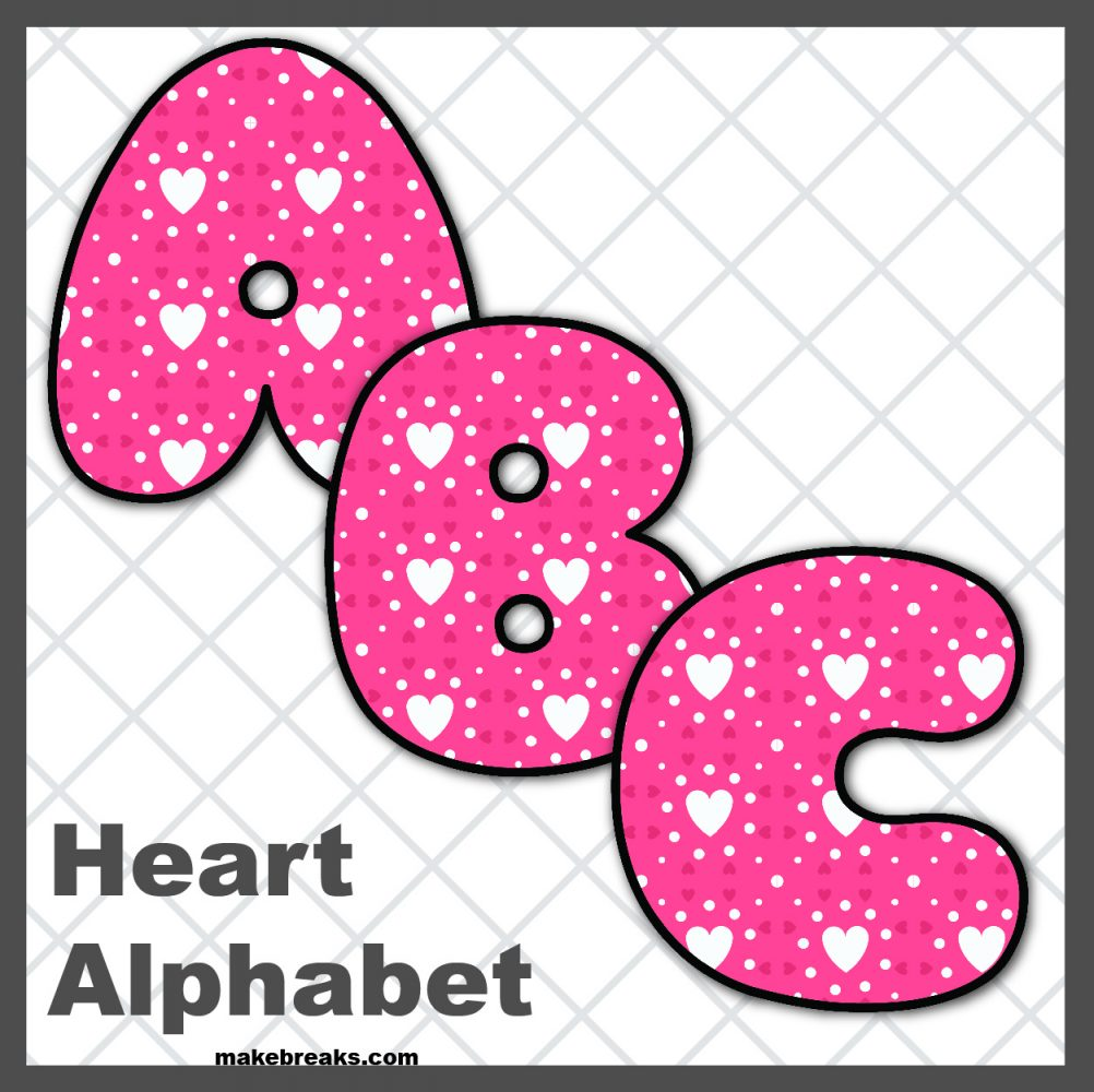 Free Printable Alphabet for Valentine's Day- Pattern 2
