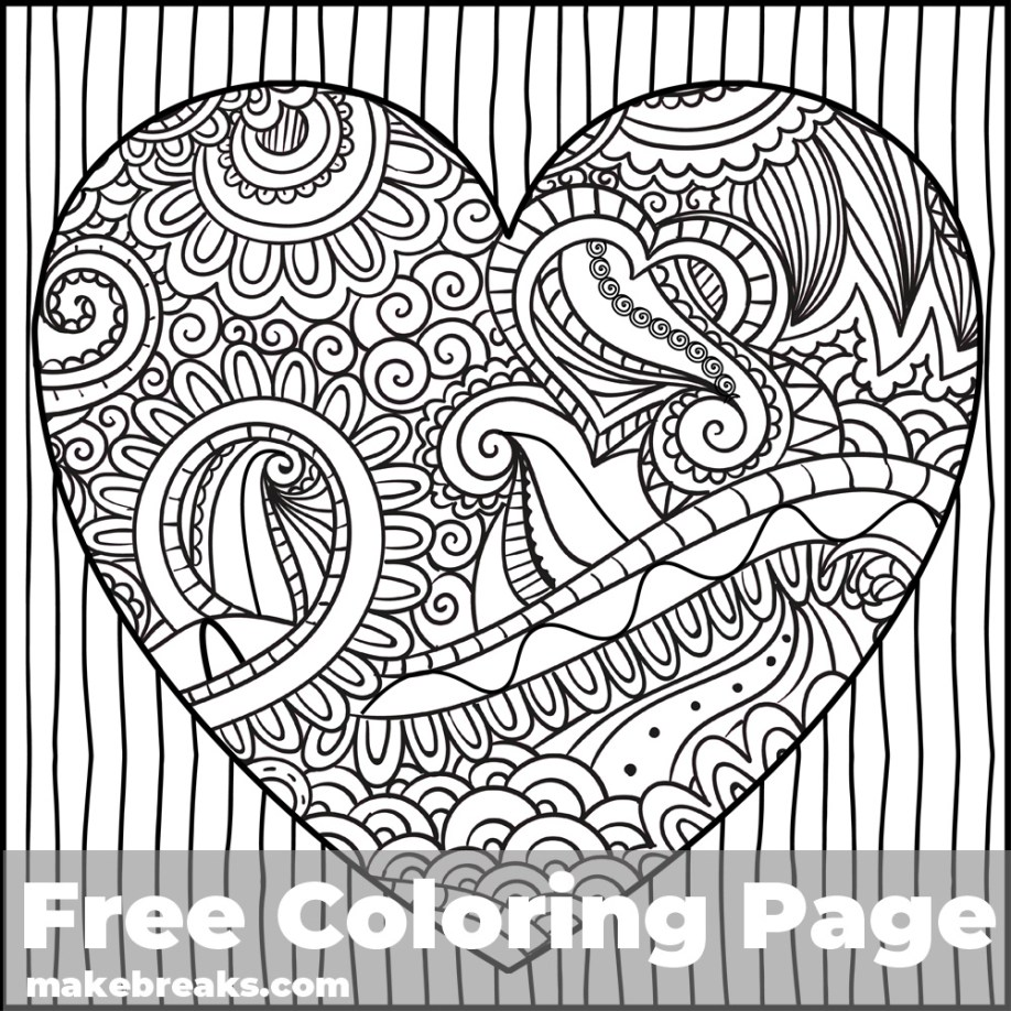 Coloring page with a decorative heart to color