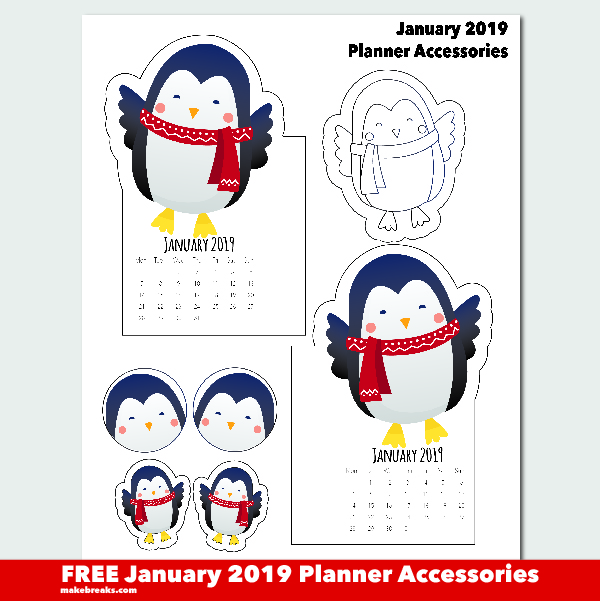 Free January 2019 Penguin Planner Printables Make Breaks
