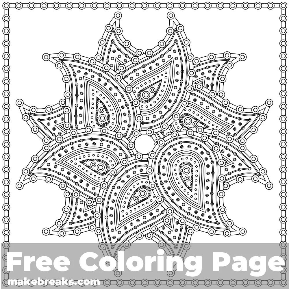 Paisley Mandala Coloring Page