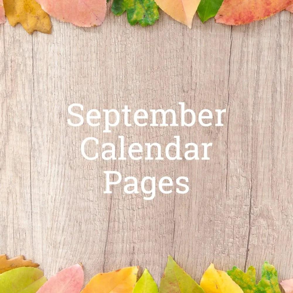 September 2019 Calendar Pages