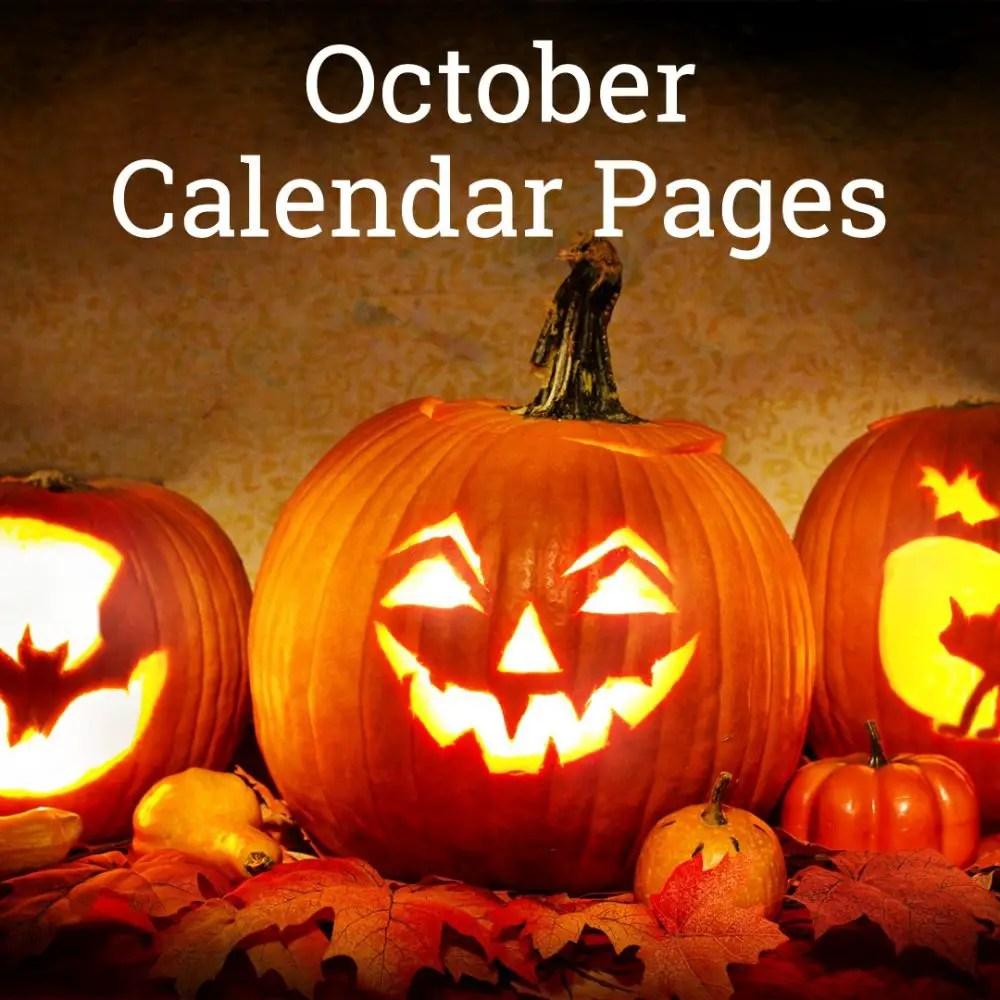 October 2019 Calendar Pages