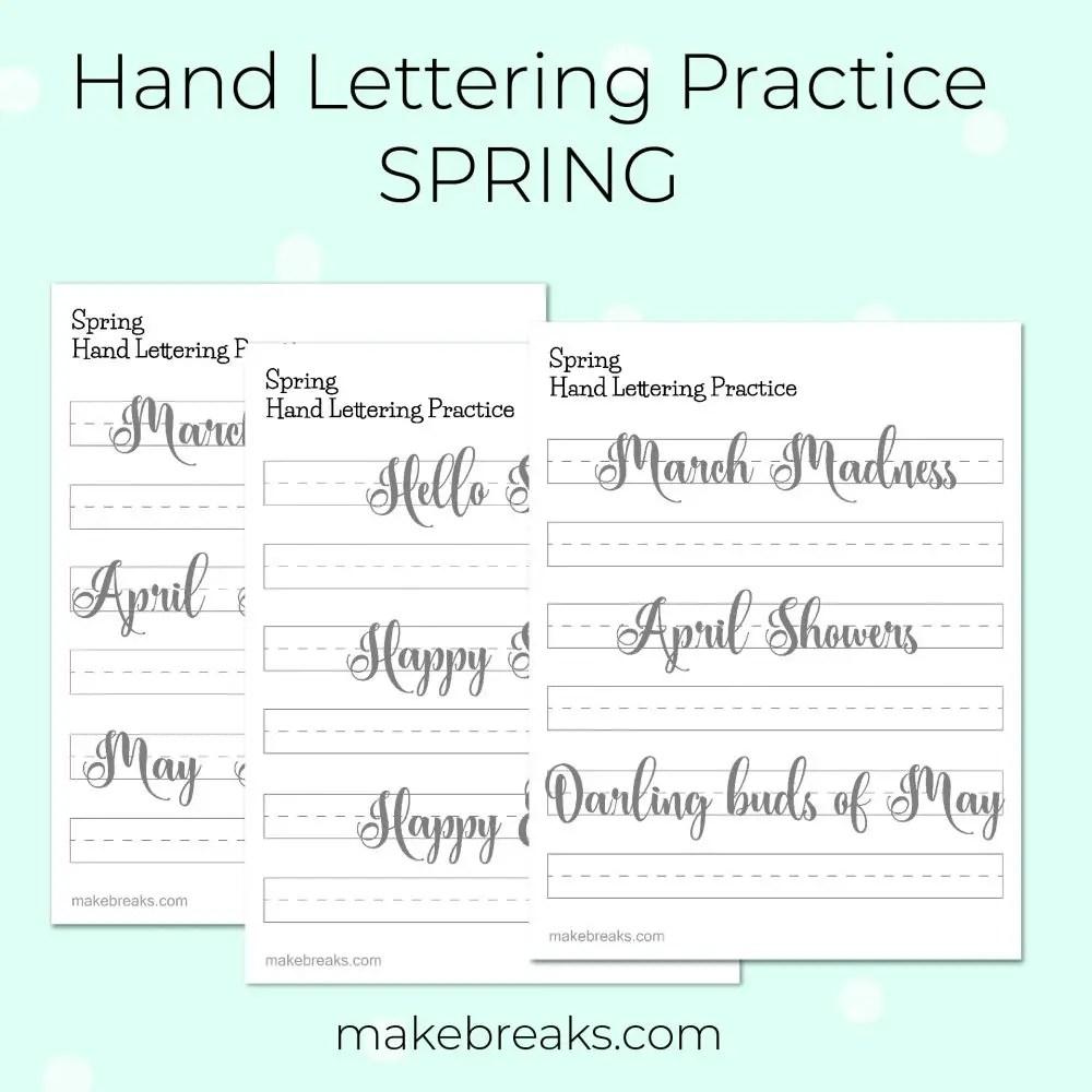Free Hand Lettering Worksheets PDF & JPG - Spring Theme