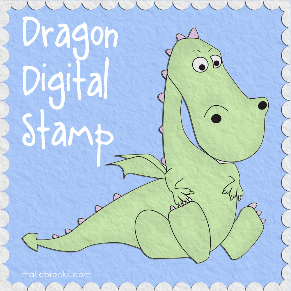 Free Digital Stamp – Cute Dragon
