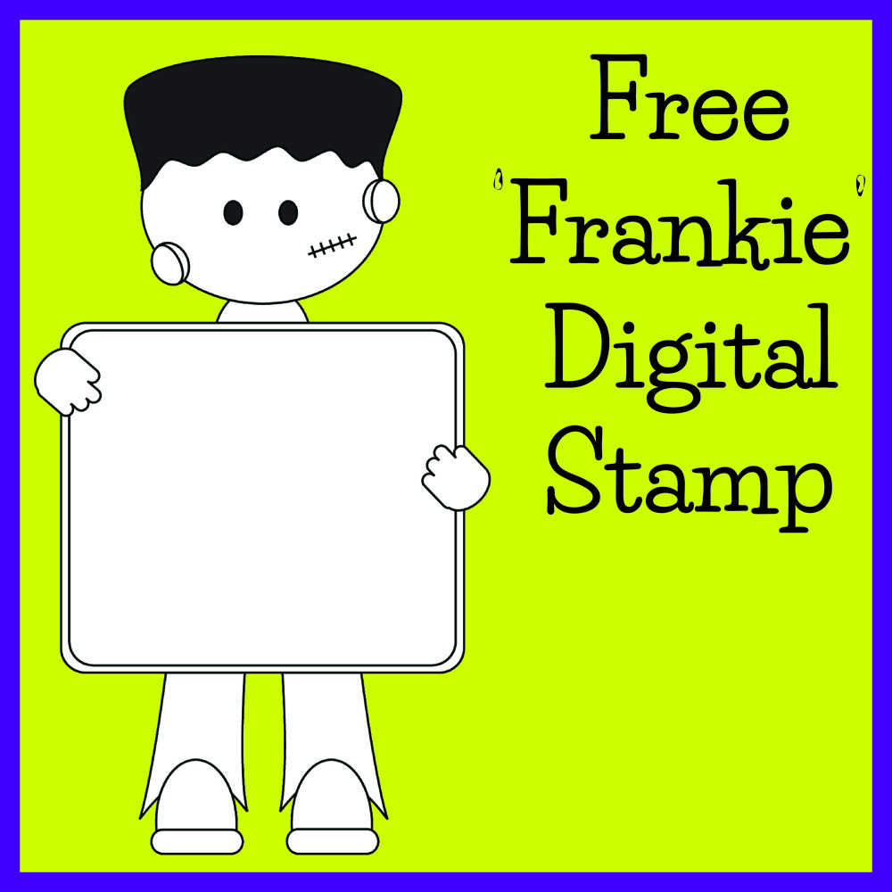 Free Digital Stamp – Cute Frankie Monster