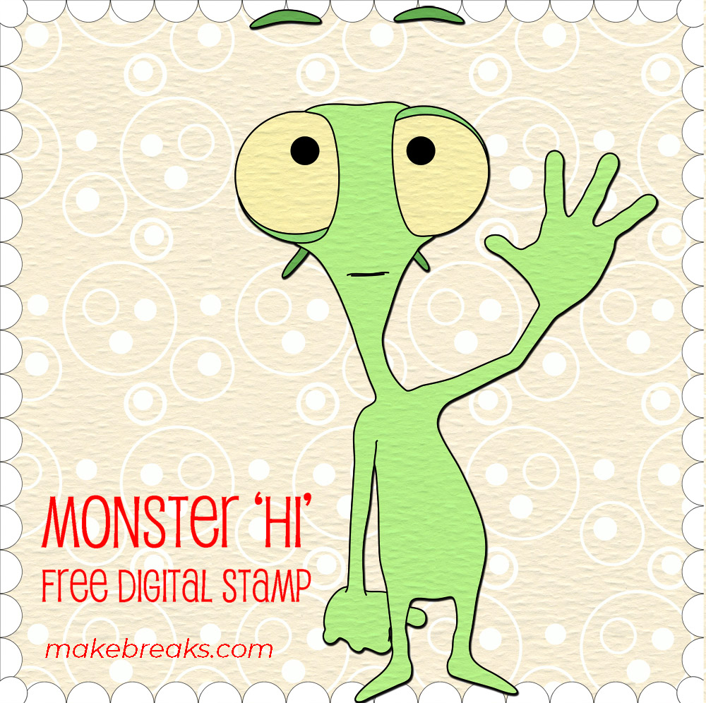 Free Digital Stamp – Monster Hi