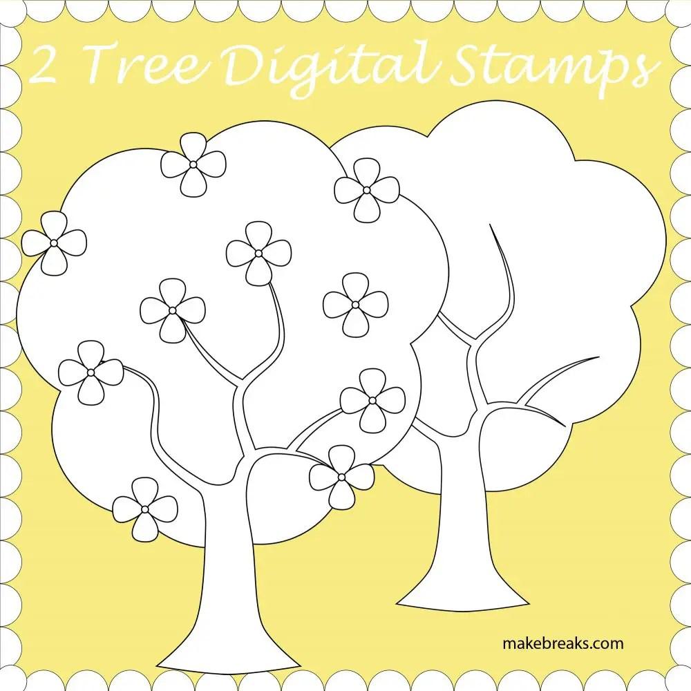 Free Trees Digital Stamp