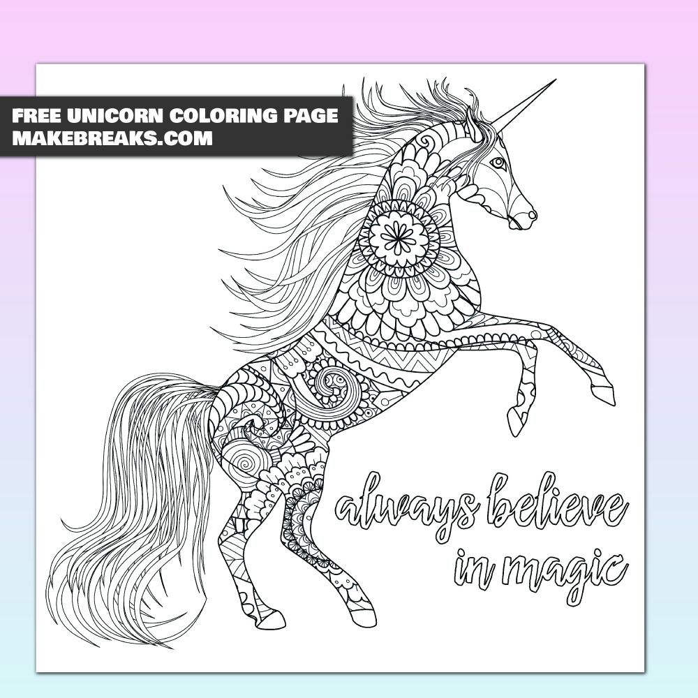 Free Aways Believe In Magic Unicorn Coloring Page