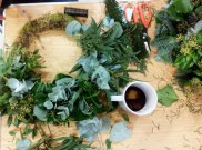 The Make Do Wreath workshop in progress