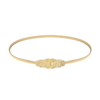 cinturon para invitada estilo brocado en dorado, perfecto para looks de boda