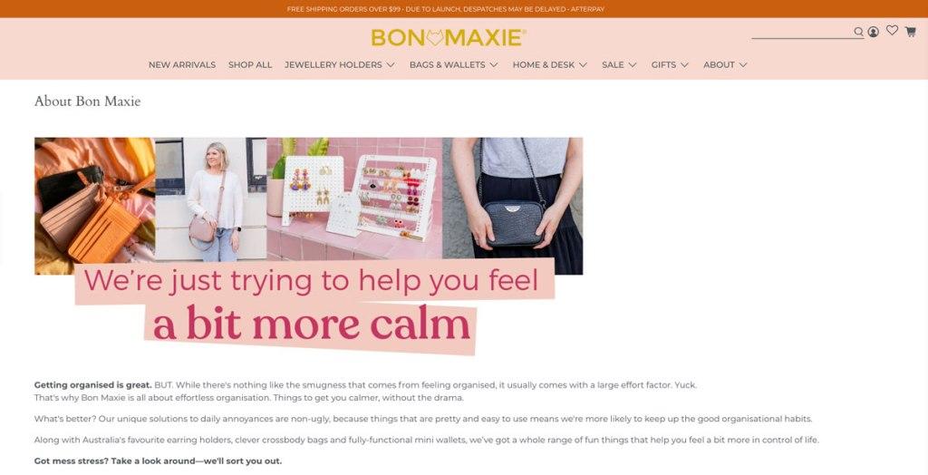 Bon Maxie About Page Screenshot