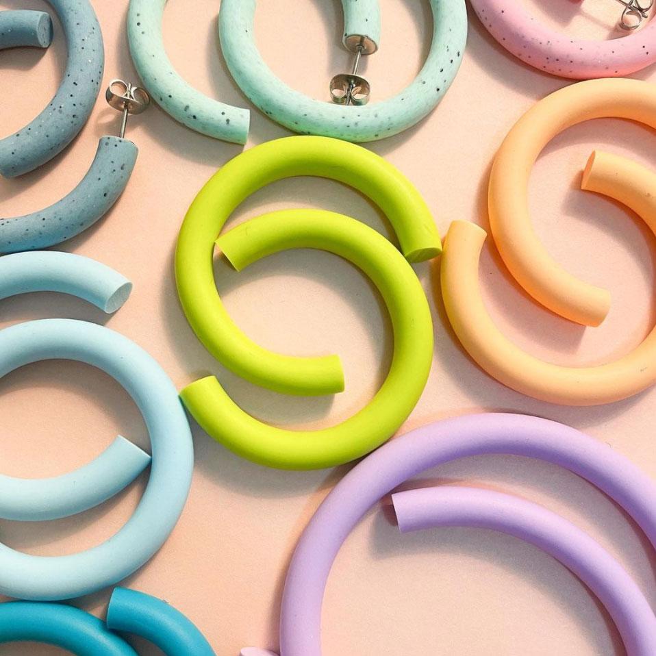 Polymer Clay Hoop Earrings in Pastel colours by Kitsu