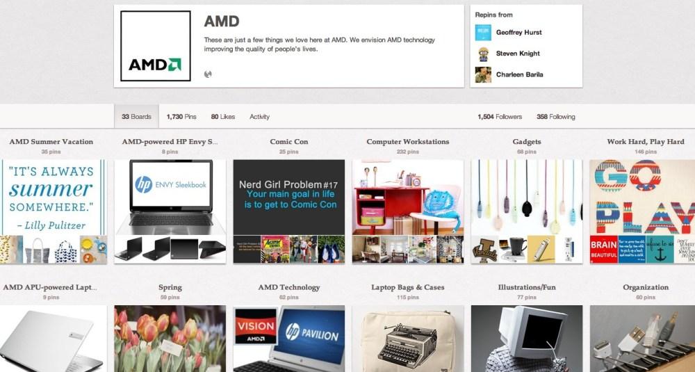 AMD Pinterest page