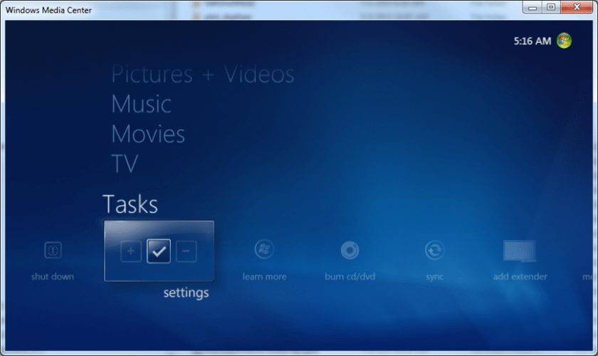 Menu for TV Setup settings in Windows Media Center