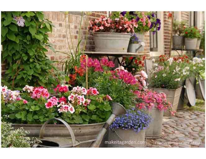 Vous pouvez décorer votre jardin en utilisant de vieux éviers en métal pour planter des fleurs