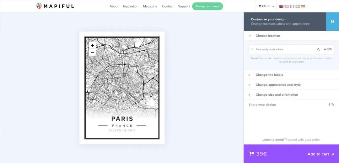 plakat mapa miasta mapiful