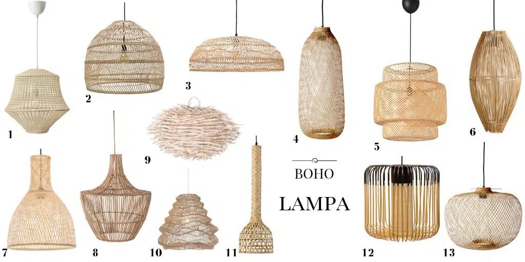 boho lampa wisząca pleciona lampa naturalna
