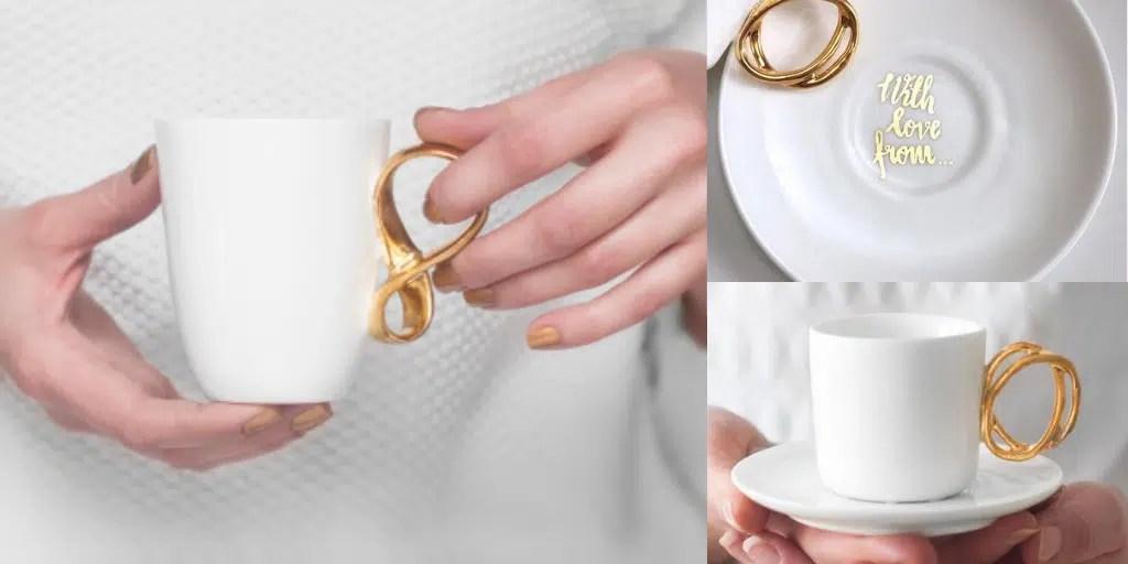 złota filiżanka złoty kubek prezent ślubny