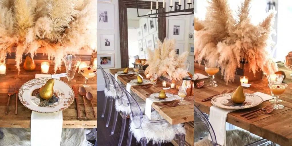 trawa pampasowa jako dekoracja stołu