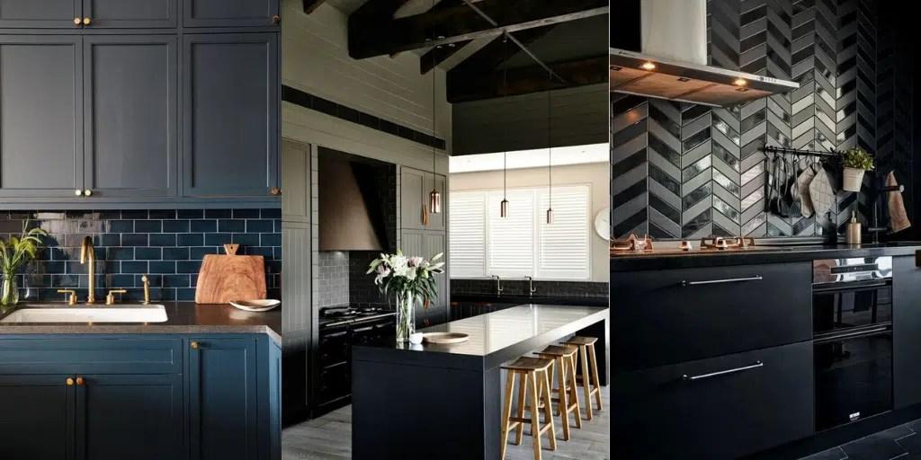 ciemne szafki w kuchni z ciemnymi płytkami i blatem