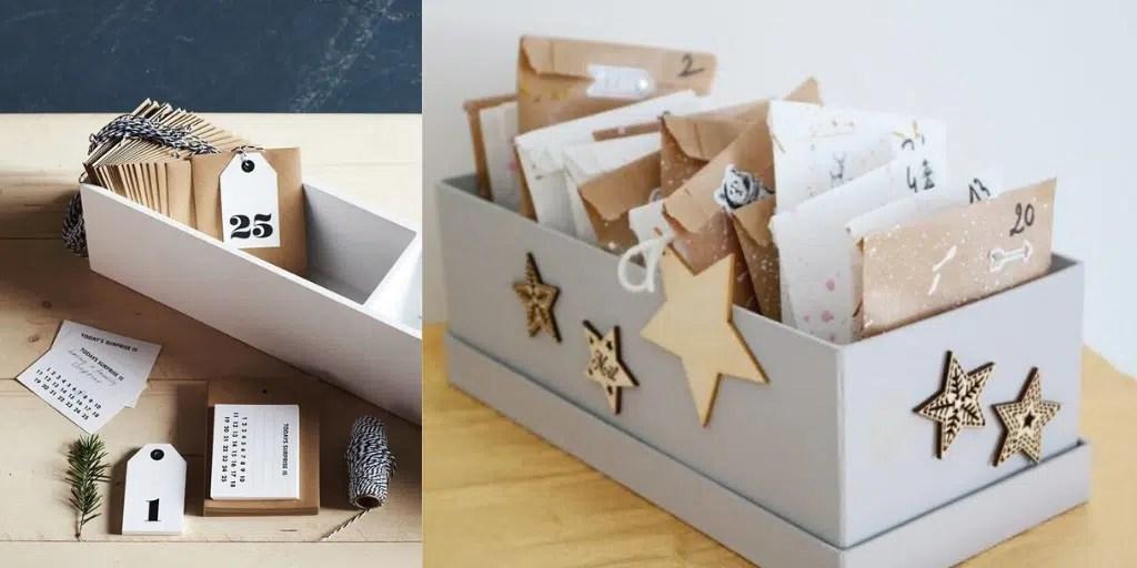 skrzynka z kopertami kalendarz adwentowy prosty do zrobienia