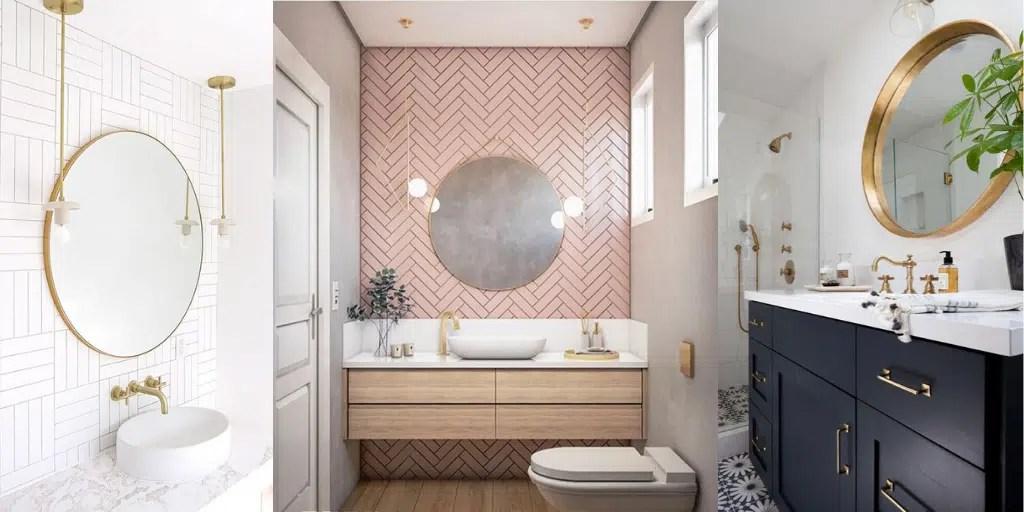 lustro w złotej ramie w łazience