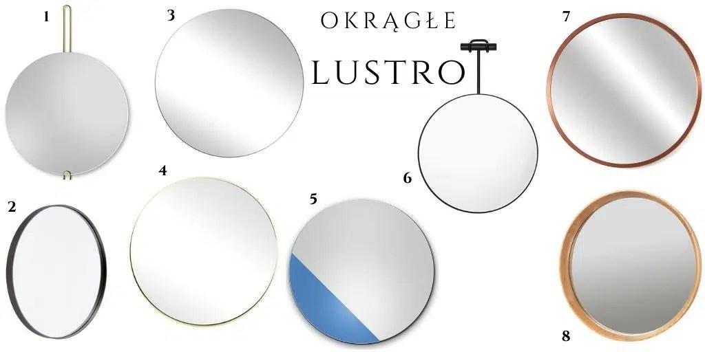 okrągłe lustro w metalowej ramie czarne